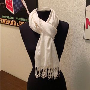 Rhinestone embellished off-white scarf with fringe